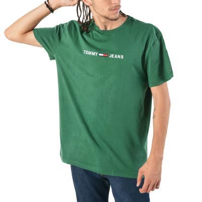 b4cd878da Tommy Hilfiger Small Text Print Men's T-Shirt DM0DM05125-396 - FOREST GREEN