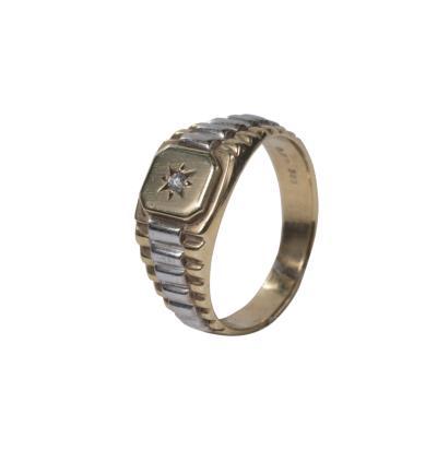 Ανδρικό δαχτυλίδι σε κίτρινο και λευκό χρυσό Κ14 με λευκό ζιργκόν 69fb5646885