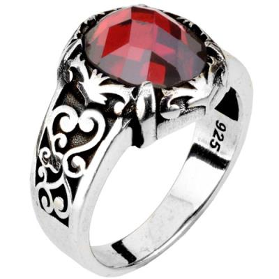 317e61bc1e Ασημένιο ανδρικό δαχτυλίδι 925 με γρανάδα