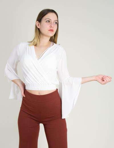 82caf7acbafc Γυναικεία λευκή σιφόν κρουαζέ μπλούζα βολάν Cocktail 014206000B