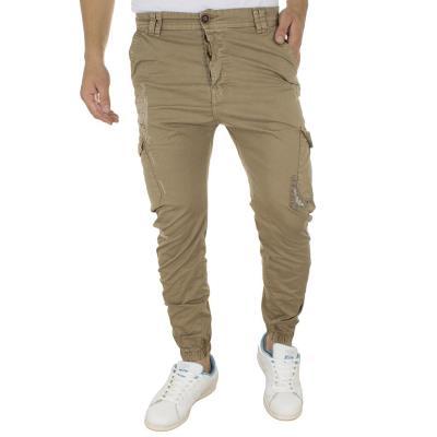 afe390a78900 Ανδρικό Cargo Παντελόνι με Λάστιχα Back2Jeans M64 Beige
