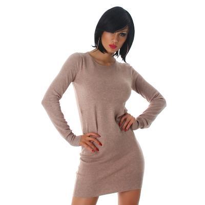 921b0f465002 61196 LX Πλεκτό μίνι φόρεμα Μακρύ πουλόβερ - Καφέ απαλό