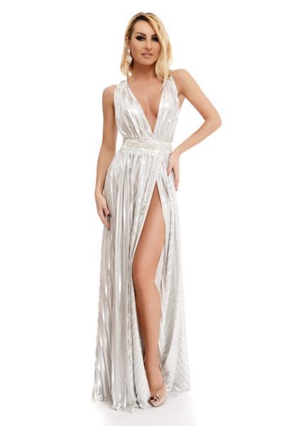 0fda092528a 9245 RO Σέξυ μάξι φόρεμα με βαθύ ντεκολτέ και έντονο σκίσιμο - Ασημί