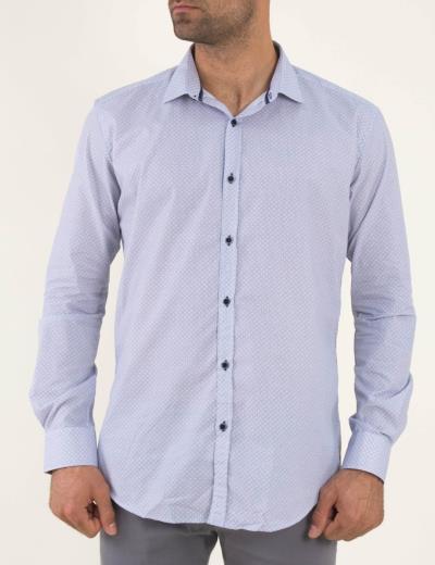 ea2f7c432834 Ανδρικό λευκό πουκάμισο μπλε μικροσχέδιο Firenze 0191136