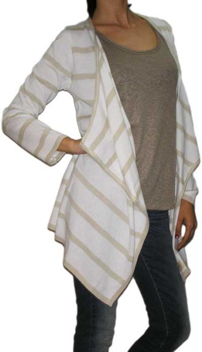a0d6848c11ff Agel Knitwear πλεκτή ριγέ ασύμμετρη ζακέτα λευκή - s15403-wh