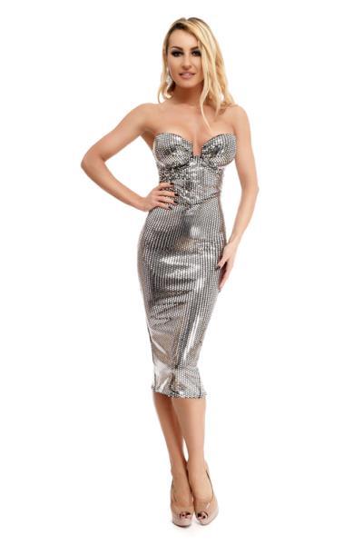fabccce5b915 9246 RO Μίντι φόρεμα με παγιέτες τύπου καθρέφτη - Ασημί