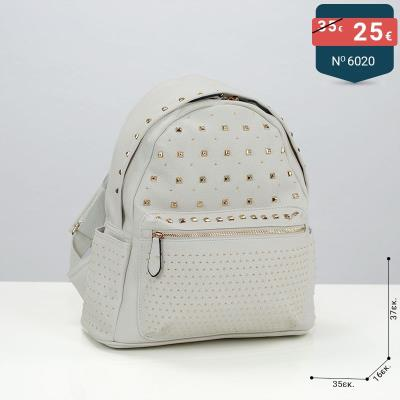 d8eb8527ad Μεγάλο γυναικεία τσάντα σακίδιο με τρουκς χρώμα λευκό