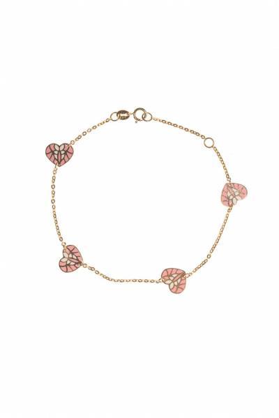 Χρυσό Bραχιόλι Kαρδιές με ροζ Σμάλτο Κ14 (NKJ) - 558 56735fdbec1