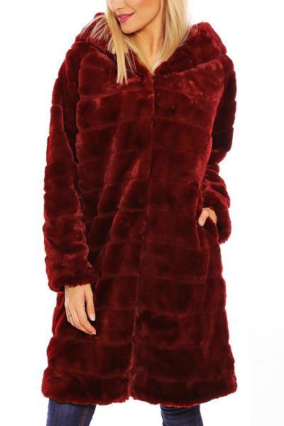 H panel faux-γούνα μπορντό με κουκούλα - h-18888-bor 2a28eb002af