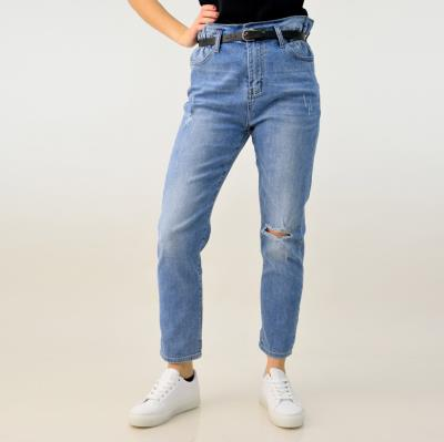 ce93daa3dbbd Παντελόνι τζιν ψηλόμεσο με ζώνη