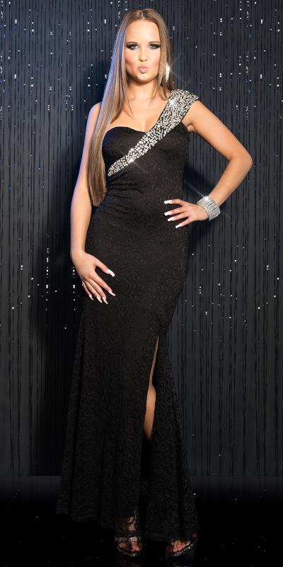 c975df5cf4d1 IN21746 Βραδινό Μακρύ Φόρεμα με strass και δαντέλα Μαύρο
