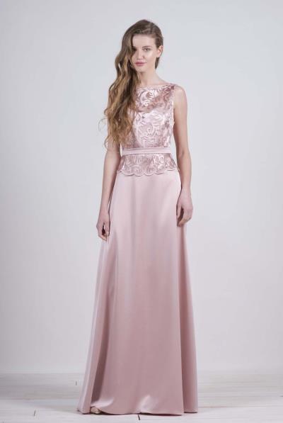 Φόρεμα μάξι μπούστο δαντέλα κρεπ φούστα βε πλάτης - 17135 76313feee05