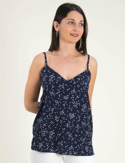 fc55d1acfd8e Γυναικείο μπλε πουά τοπ ραντάκι Coocu 366913