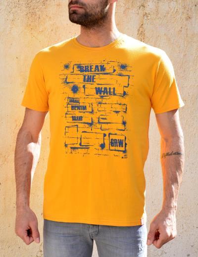 742021d804ac Ανδρικό βαμβακερό T-shirt Green Wood ώχρα τύπωμα 21K900381