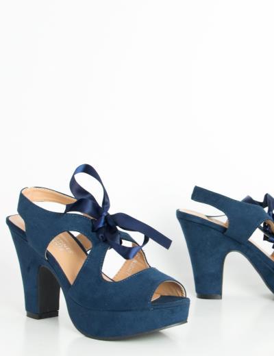 Γυναικεία μπλε πέδιλα σατέν κορδέλα χοντρό τακούνι LBS2736W 15d8f027df9