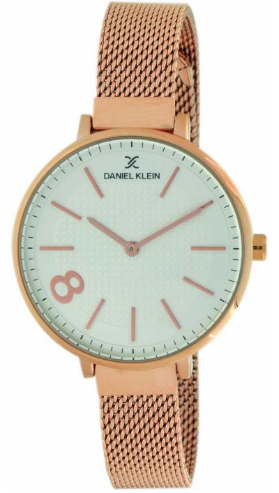Ρολόι Daniel Klein με ροζ χρυσό μπρασελέ και λευκό καντράν DK11464-3 b0ec255563a