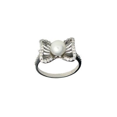 Γυναικείο Δαχτυλίδι 14Κ λευκό Χρυσό με μαργαριτάρι και λευκά ζιργκόν 473ac004a22