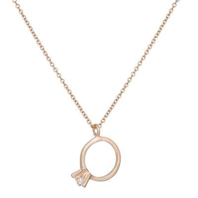 Κολιέ ροζ gold μονόπετρο Κ14 με ζιργκόν πέτρα 032134 032134 Χρυσός 14  Καράτια 789cf416f26