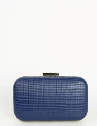 Γυναικείο μπλε τσαντάκι Hardcase Clutch ασημί κούμπωμα JK25L 432ef6743a7