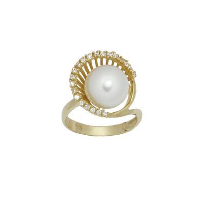 Γυναικείο Δαxτυλίδι 14Κ κίτρινο Χρυσό με μαργαριτάρι και λευκά ζιργκόν 9f75acb6b96
