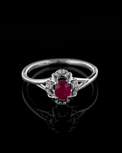 Δαχτυλίδι μονόπετρο λευκόχρυσο Κ18 με Διαμάντια και Ρουμπίνι 461c6f060e6