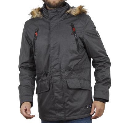 Ανδρικό Μακρύ Μπουφάν Parka Jacket με Κουκούλα ICE TECH G629 σκούρο Γκρι 1734fd01c5a