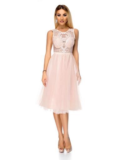1723d984873c 9324 RO Μίντι πριγκιπικό φόρεμα με δαντέλα - Ροζ Απαλό. Άμεσα διαθέσιμο