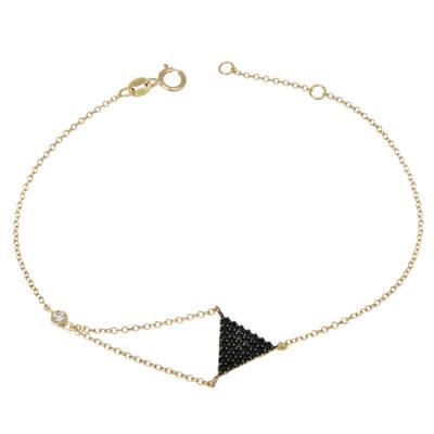 Χρυσό βραχιόλι Κ14 με μαύρες πέτρες 028688 028688 Χρυσός 14 Καράτια 50912aecab2