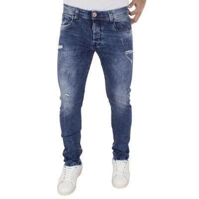 f3c9bfcc6bda Ανδρικό Τζιν Παντελόνι DAMAGED Jeans D5 slim basic Μπλε
