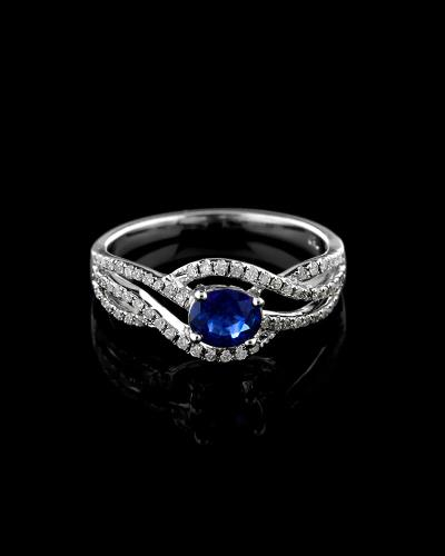 Δαχτυλίδι μονόπετρο λευκόχρυσο Κ18 με Διαμάντια και Ζαφείρι eec878857e8
