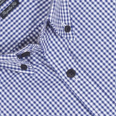 715a65dd9e9b Ανδρικό Καρό Μακρυμάνικο Πουκάμισο Regular Fit DOUBLE GS-451 Γαλάζιο