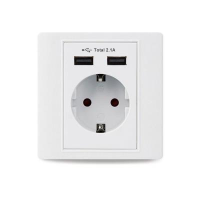 Πρίζα σούκο με 2 θυρες USB 5VDC 16A 250V σε λευκό χρώμα με γείωση  9ae0239df6a