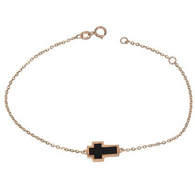 Χειροποίητο βραχιόλι Κ14 ροζ gold με σταυρουδάκι 030783 030783 Χρυσός 14  Καράτια aba85b012d6