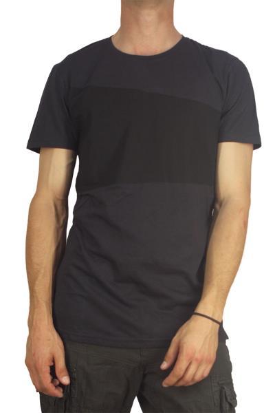 Ανδρικό longline t-shirt σκούρο γκρι με διαγώνια μαύρη στάμπα - 20585-gr b8e44fd47b5