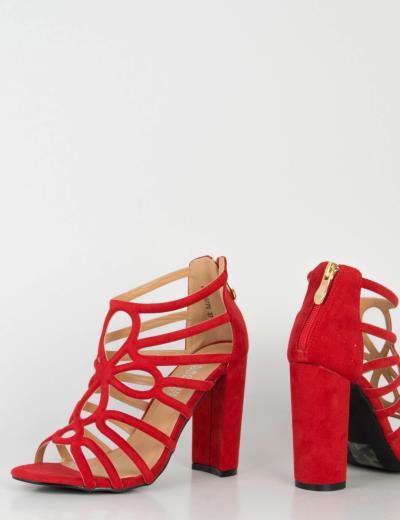 cbc51d323b8 Γυναικεία κόκκινα σουέντ πέδιλα χοντρό τακούνι 0770