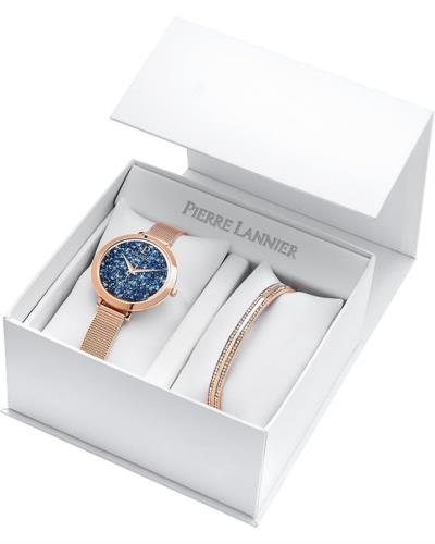 PIERRE LANNIER Ladies Swarovski Rose Gold Stainless Steel Bracelet Gift Set a836634ceb9