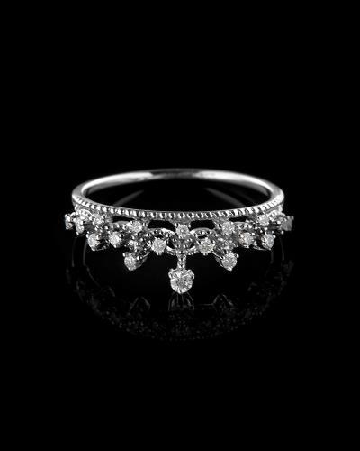 Δαχτυλίδι στέμμα λευκόχρυσο Κ18 με Διαμάντια 8aa9d8c23b7