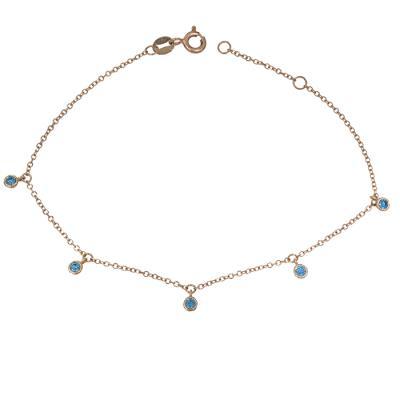 Γυναικείο βραχιόλι Κ14 ροζ gold με μπλε πέτρες 028938 028938 Χρυσός 14  Καράτια 472e7121b94
