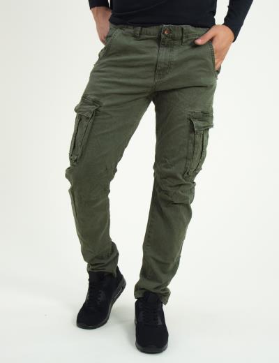 Ανδρικό χακί υφασμάτινο παντελόνι πλαϊνές τσέπες 8088 5f754e52044