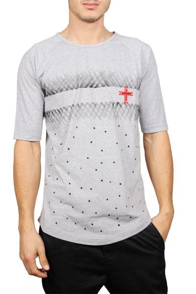 Crossover longline μπλούζα γκρι μελανζέ με βούλες - 18009-gr 666fb2a9497