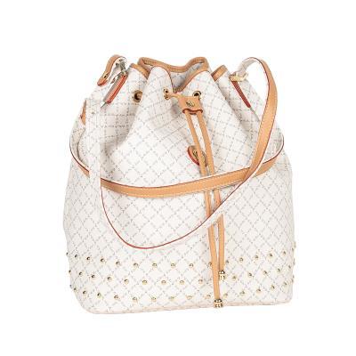 2f46ae669f Τσάντα Ώμου Πουγκί Με Τρουκς La Tour Eiffel Logo-Δέρμα 10495 Λευκή-Μόκα