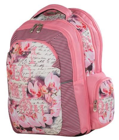 ac2b12ea56 Τσάντα Σχολική POLO dino ροζ λουλούδια 901219-16-00 POLO