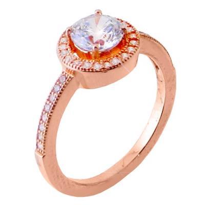 Ασημένιο μονόπετρο δαχτυλίδι 925 σε ροζ χρώμα με ζιργκόν ce522bfb8c1