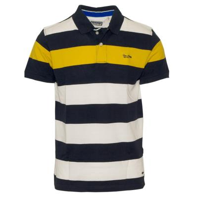 71357-30 Ανδρικό Polo πικέ ριγέ - navy κίτρινο λευκό 826167b8ab2