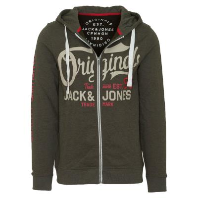 c412dfdc936 JACK & JONES JORGRIN SWEAT ZIP HOOD - 12138339-FOREST NIGHT KHAKI