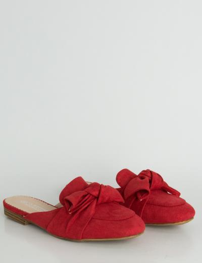 a402689b634 Γυναικεία κόκκινα Flat Mules σουέντ ιριδίζον φιόγκος LBS6599