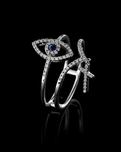 Δαχτυλίδι λευκόχρυσο Κ18 με Διαμάντια και Ζαφείρι 2667924a2bc