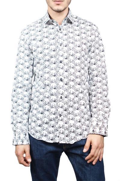 bd9984b0c034 Missone ανδρικό πουκάμισο λευκό με ποδήλατα - ms-1044-wh