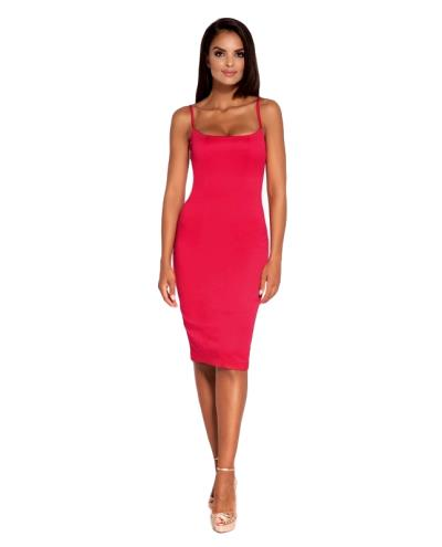 60047 DR Σατέν κομψό μίντι φόρεμα - Φούξια 88915902868