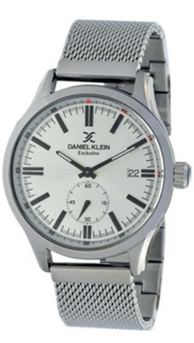 Ρολόι Daniel Klein Exclusive με ημερομηνία και ασημί μπρασελέ DK11500-7 03e4484e5cc